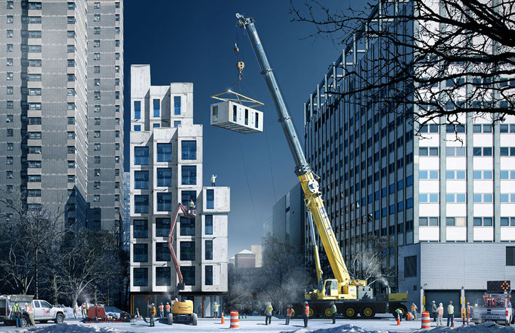 "New York to Complete First Prefabricated ""Micro-Apartments"" this Year, © nARCHITECTS / NYC Mayor's Office"