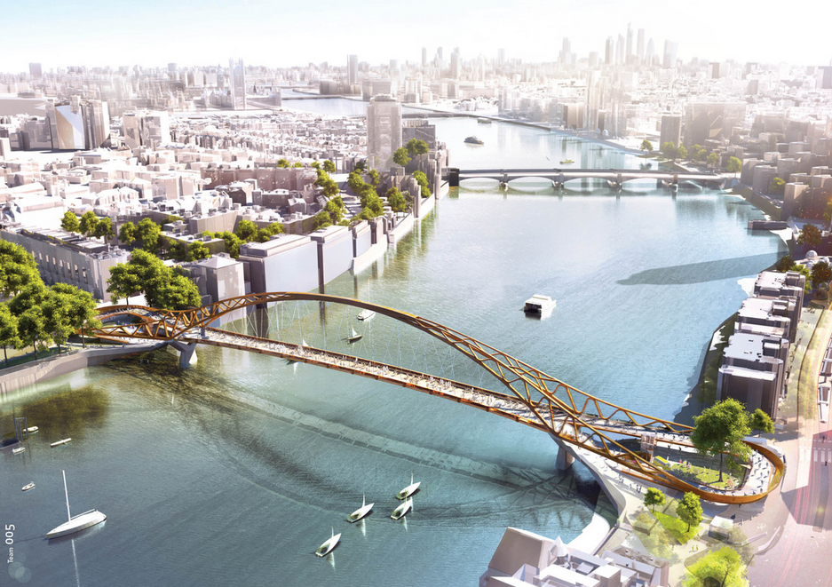 "74 ""Wild Designs"" Considered for New Thames Pedestrian and Cycle Bridge , Courtesy of Nine Elms Vauxhall Partnership"