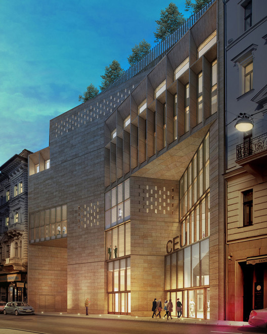 O'Donnell + Tuomey's Central European University In Budapest Breaks Ground, View from street. Image Courtesy of O'Donnell + Tuomey / Central European University