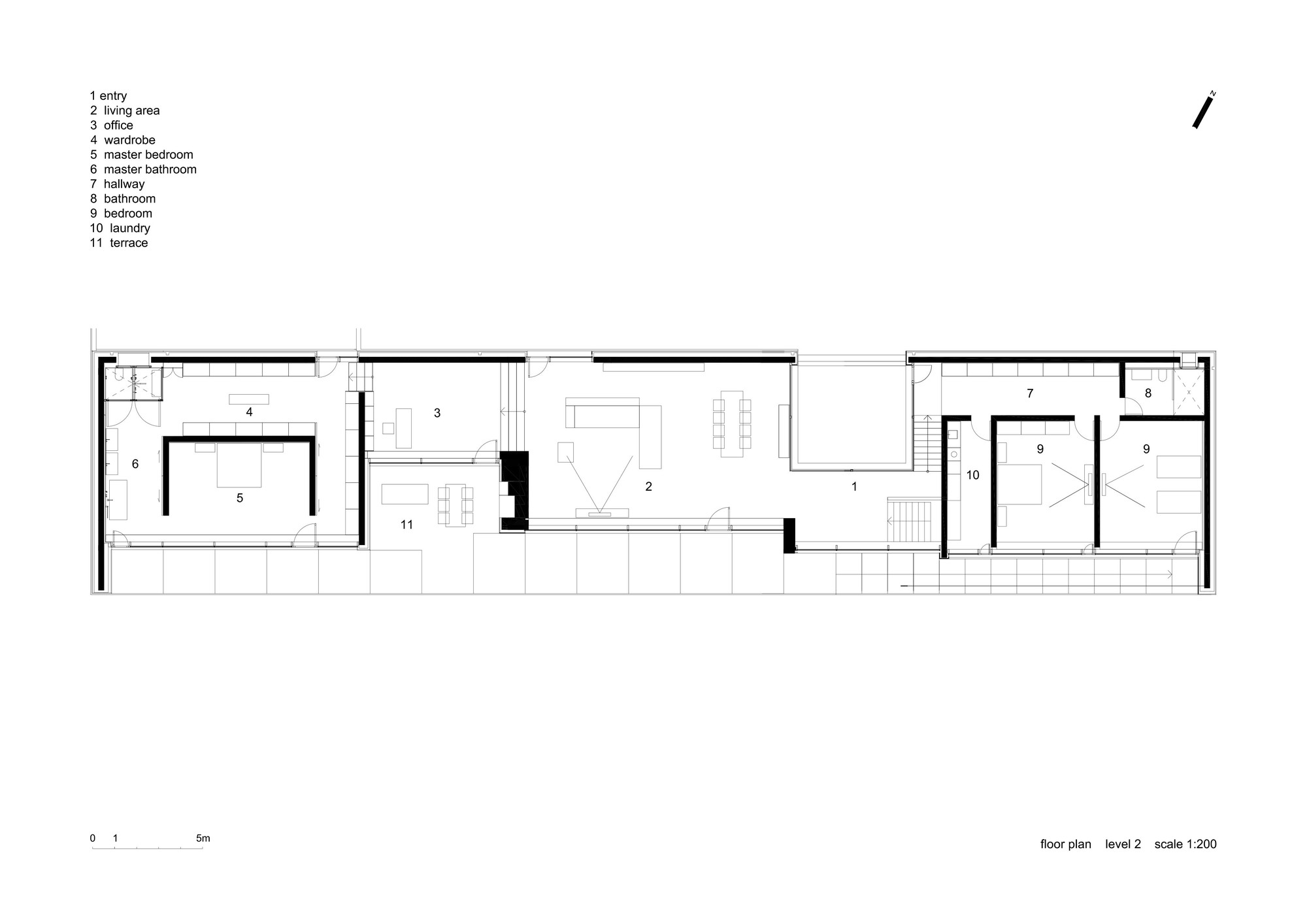 Gallery of slight slope long house i o architects 19 for Long and narrow house plans