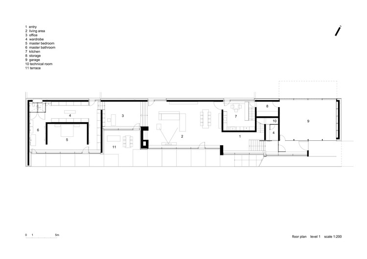 Slight slope long house i o architects archdaily Long ranch style house plans