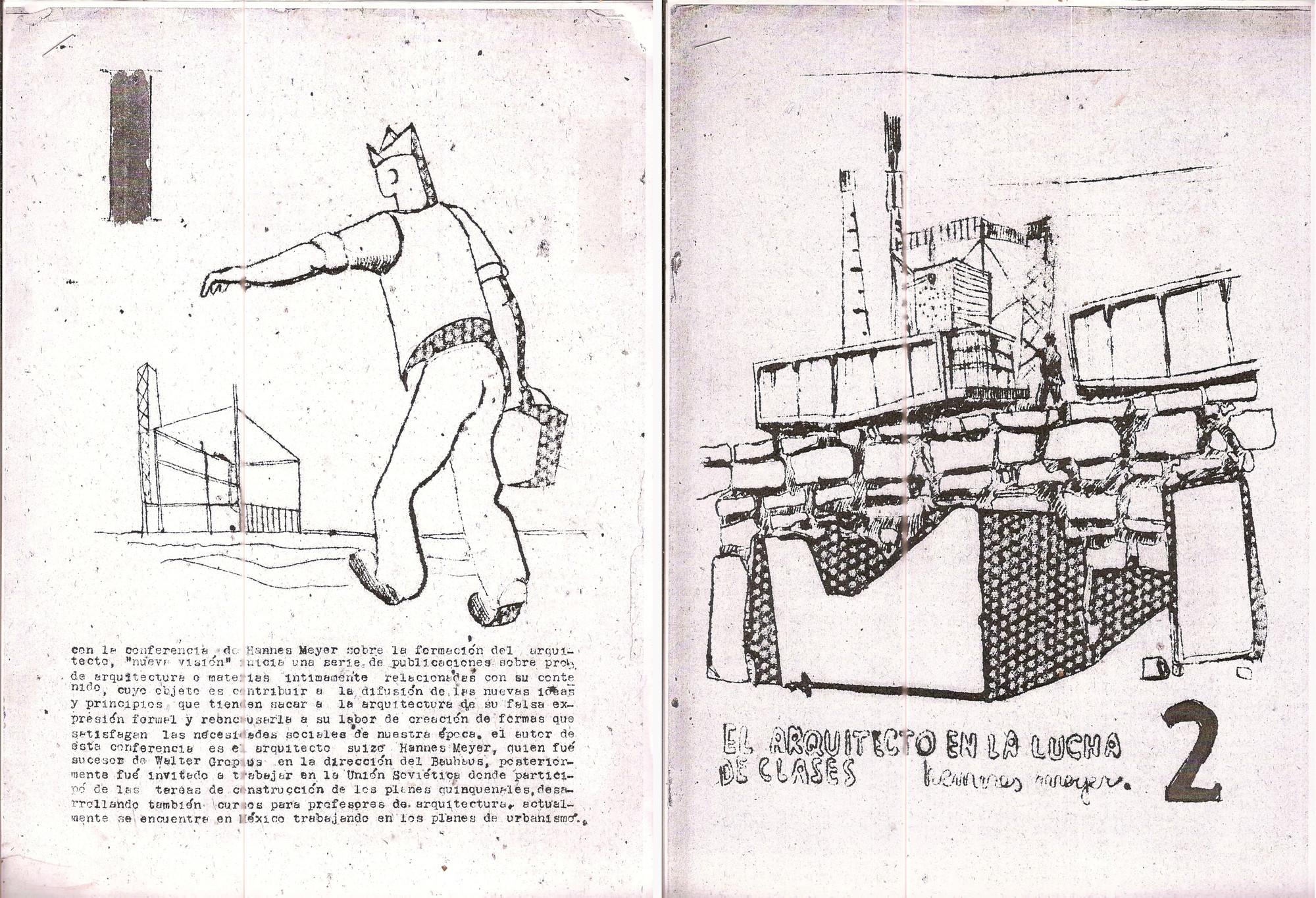 """As redes colaborativas da Bauhaus nas décadas de trinta e quarenta , Capas da revista dos estudantes da Universidade do Chile, """"Nova Visão"""" (1951) com artigos dos anos trinta escritos por Hannes Meyer. Imagem cortesia do Arquivo do arquiteto Osvaldo Cáceres"""