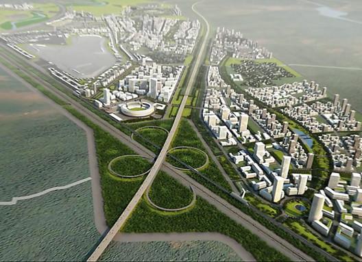 Plano para a Jaypee Sports City conta com um parque contínuo de 16km que envolver um denso tecido urbano de edifícios altos e baixos. Cortesia de CannonDesign