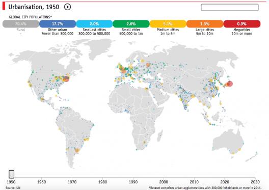 Mapa Da Urbanizacao No Mundo Entre 1950 E 2030 Archdaily Brasil
