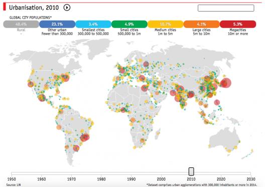 Mapa da urbanização no mundo entre 1950 e 2030, 2010. Imagem © The Economist