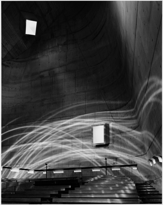 Hélène Binet: Fragments of Light, Firminy C, architecture by Le Corbusier, 2007, digital b-w silver gelatin print. Courtesy of ammann gallery. Image © Hélène Binet