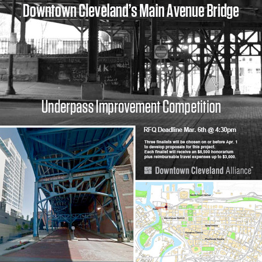 Competition Seeks Architects to Redesign Downtown Cleveland's Main Avenue Bridge Underpass , © Downtown Cleveland Alliance