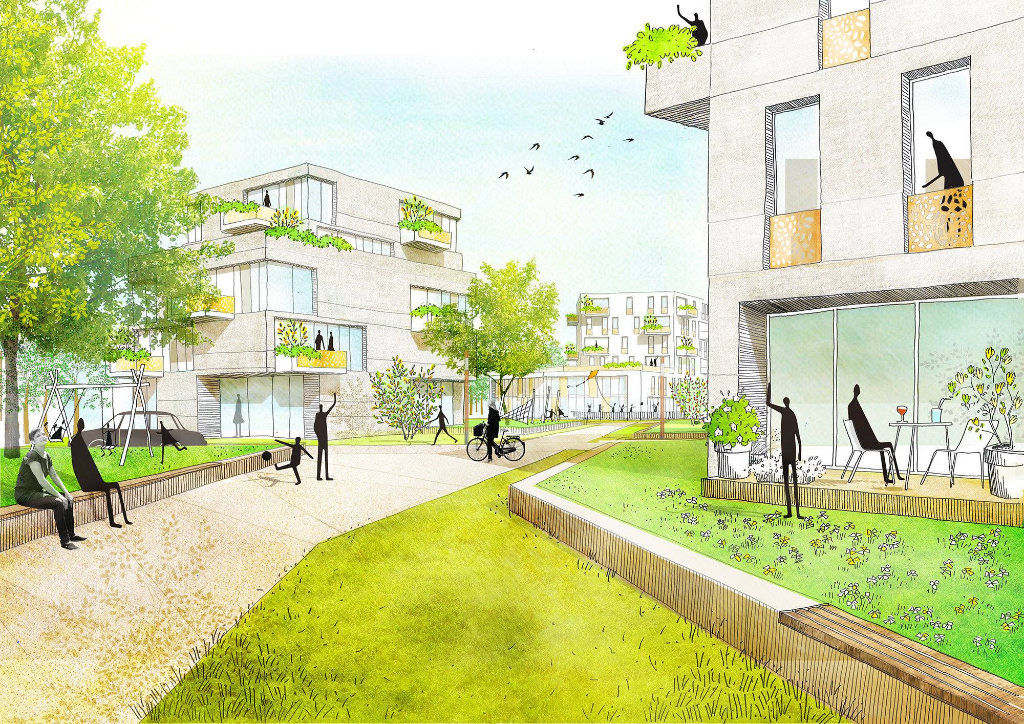 Mei and Felixx Propose Housing for Postwar Residential Area in Munich , © Team Mei and Felixx