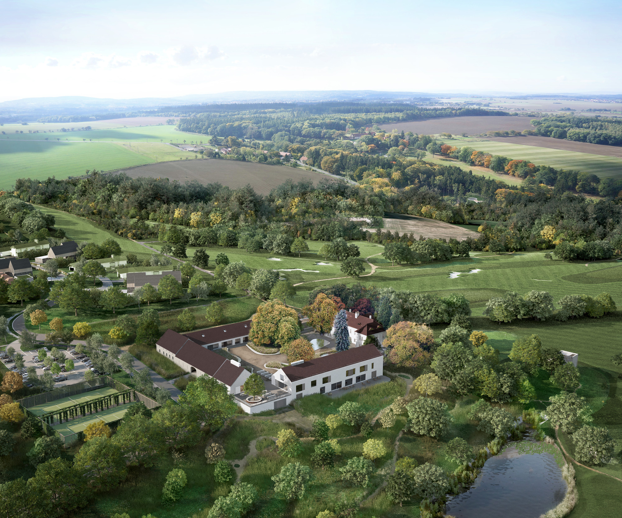 Jiřičná, Meier And Pawson Appointed To Design Residential Development Near Prague, Proposal: John Pawson (Chateau Aerial View). Image Courtesy of Oaks Prague