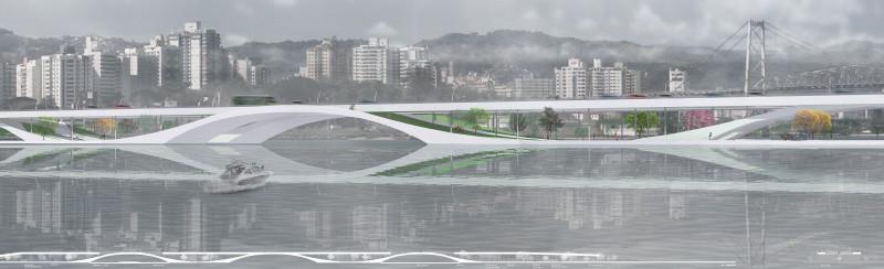 Resultados do Concurso 009 Projetar.org: Ponte-Parque em Florianópolis , Proposta premiada com o primeiro lugar no concurso 009 do Projetar.org. Image Cortesia de Projetar.org