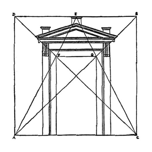 Construção de uma porta. Do Primeiro Livro de Serlio
