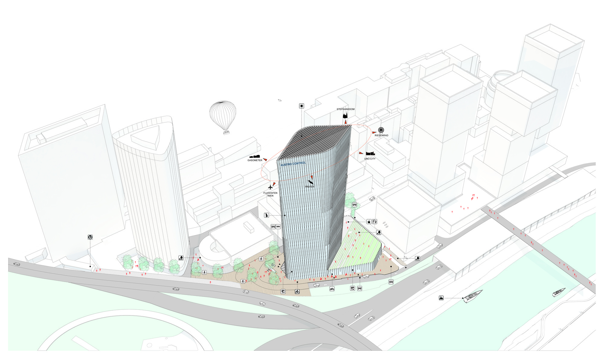 office block design. AZPML And SHARE Selected To Design 115-Meter Viennese Office Tower,© Block