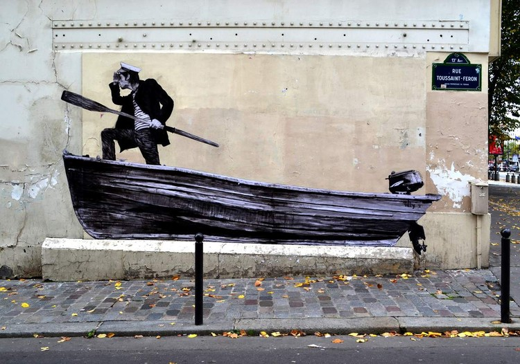 French Artist Levalet Inks Imaginary Scenes onto Parisian Buildings, Décrue. Image © Levalet
