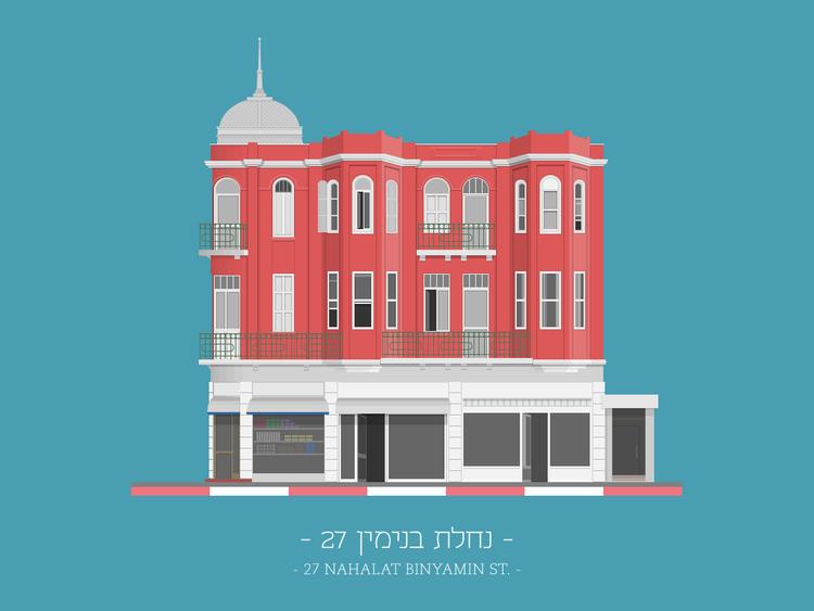 Arte y Arquitectura: ilustraciones coloridas de fachadas eclécticas del Tel Aviv, 27 Nahalat Binyamin St.. Imagen © Avner Gicelter
