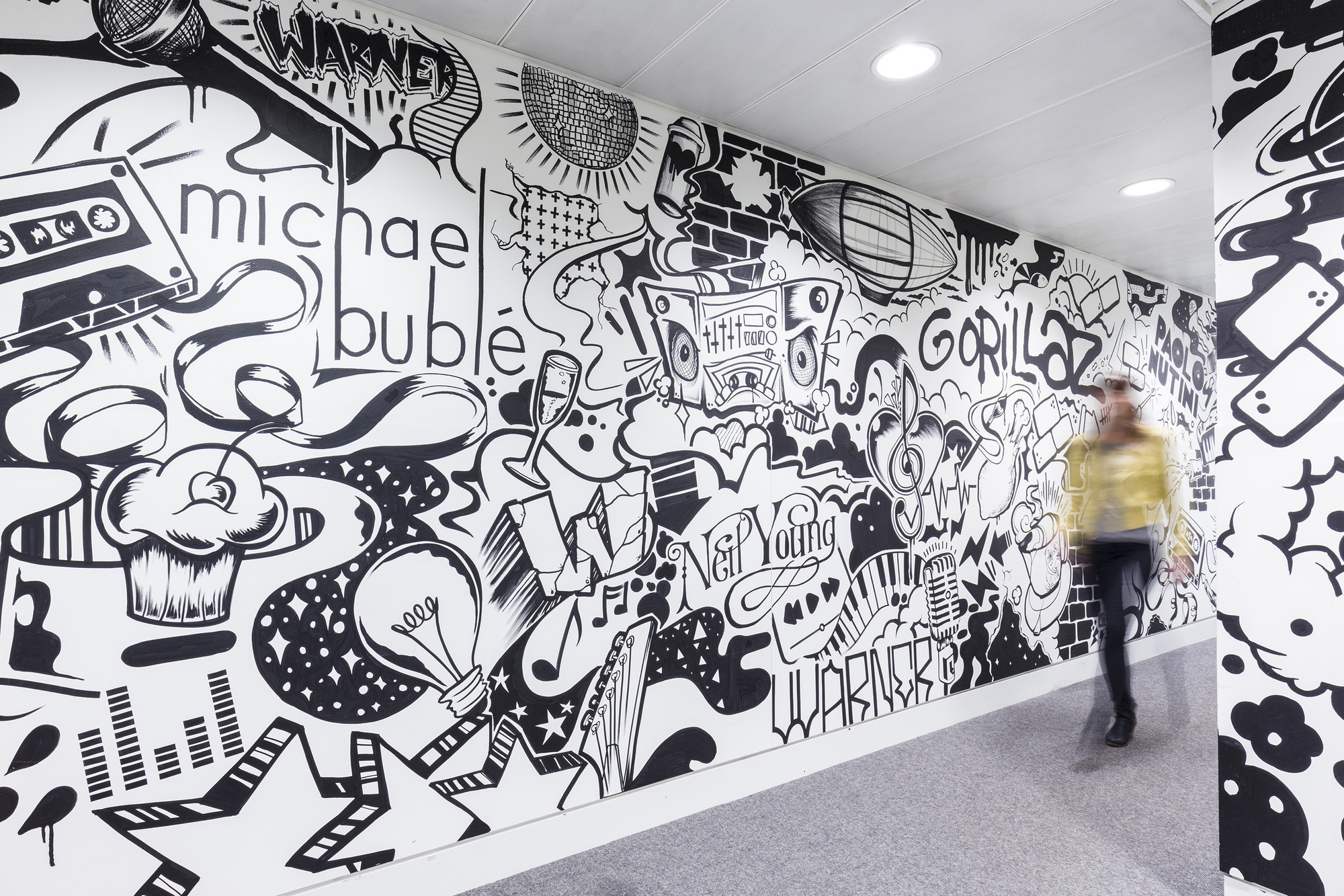 Gallery of warner music uk hq woods bagot 13 for Environmental graphics wall mural