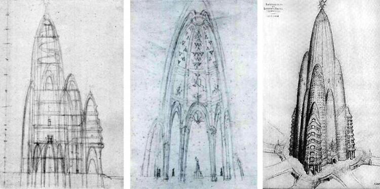 El Nueva York que pudo ser: los proyectos nunca construidos de Gaudí, Gehry y Lloyd Wright, Bosquejos de Gaudí (izquierda) con el dibujo de Joan Matamala del edificio (derecha). Imagen via 6sqft