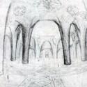 Interior sketch by Gaudí. Image Courtesy of 6sqft
