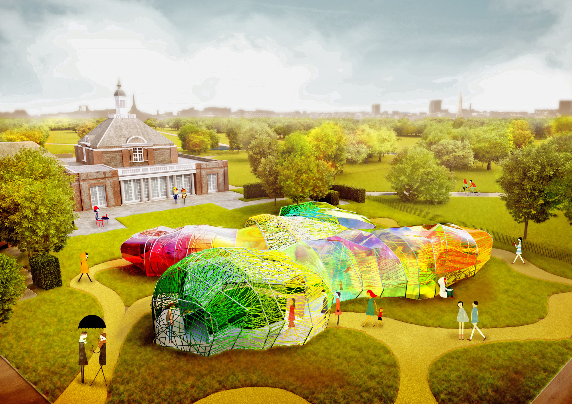 Serpentine Gallery Reveals SelgasCano's Colorful Design for 2015 Pavilion, Serpentine Pavilion designed by SelgasCano 2015, day view. Image © Steven Kevin Howson / SelgasCano