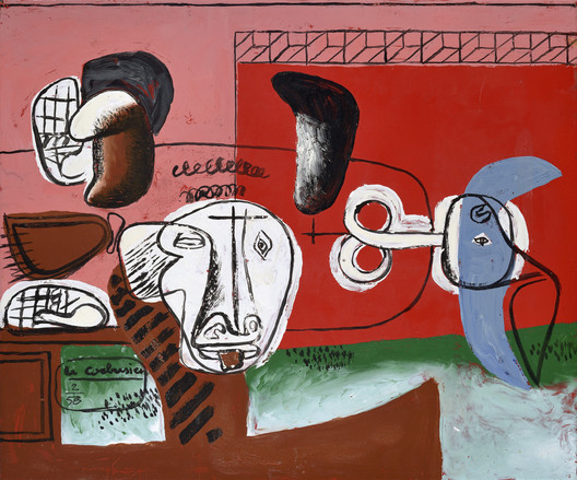Taureau (Bull), 1956; Sheet metal plaque, enameled (Unique work, painted with enamel on sheet metal by Le Corbusier and fired in the studio of Jean Martin in Luynes) (46 x 55 cm). Image © Galerie Eric Mouchet – Galerie Zlotowski