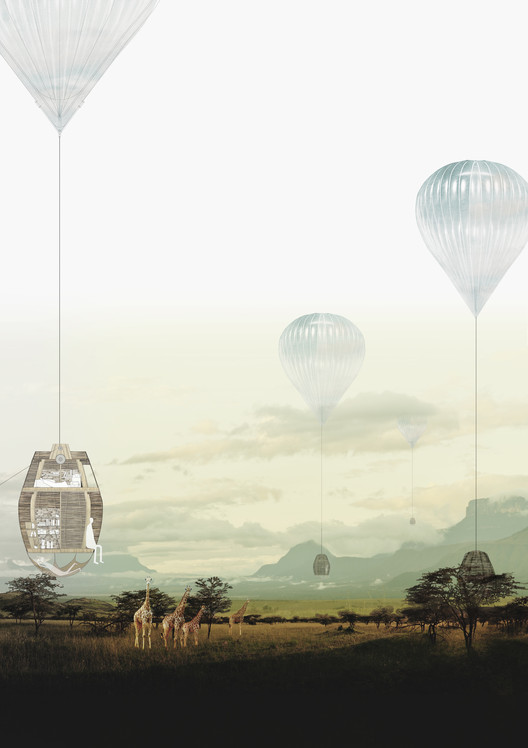 Propuesta Heat-Wind-Hang, tercer lugar en concurso IWC África / Sudáfrica, Cortesia de Arquideas