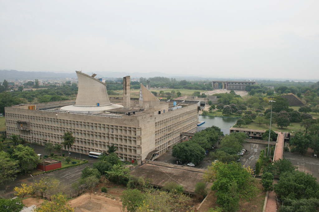 Chandigarh Under Siege: Le Corbusier's Capitol Complex Threatened by Housing Development, Chandigarh's Palace of the Assembly in the foreground facing the High Court in the background. Image © Flickr CC user Eduardo Guiot