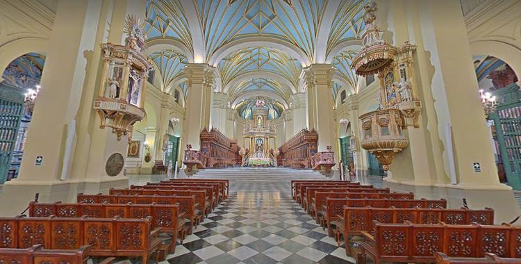 Perú: visita 20 increíbles hitos patrimoniales en panorámicas 360°, Basílica Catedral de Lima. Image vía Google Street View