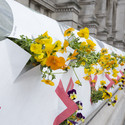 'AgBags' installed on the V&A's stone façade as part of a work by Natalie Jermijenko. Image © Peter Kelleher / Victoria & Albert Museum