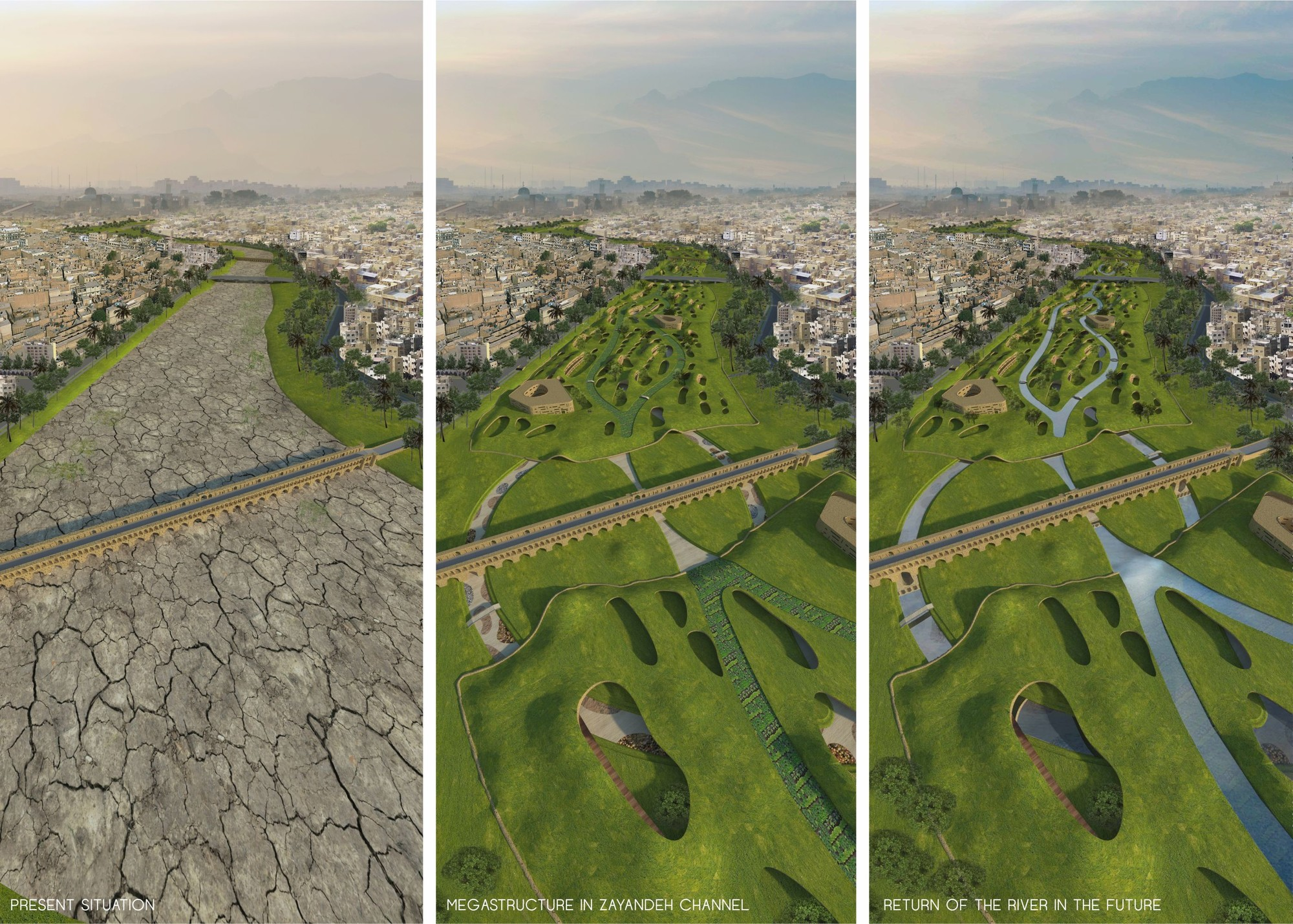 Mateusz Pospiech Proposes a Megastructure to Replace Iran's Dried Up Zayanderud River, Courtesy of Mateusz Pospiech