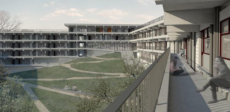 Primeiro lugar no concurso para Moradia Estudantil da Unifesp Osasco / H+F Arquitetos, Cortesia de Hereñú + Ferroni Arquitetos