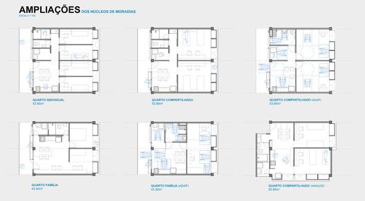 Ampliações dos núcleos. Image Cortesia de Hereñú + Ferroni Arquitetos