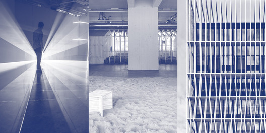Finalists' Work (left to right) - Quynh Vantu's installation Variable Measure, Malkit Shoshan's exhibition Zoo, or the Letter Z, just after Zionism, and Erik L'Heureux's design of a factory building facade. Image © Harvard GSD