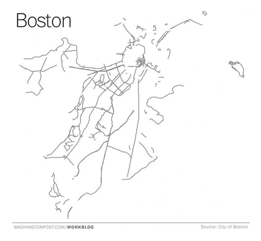 Boston's bicycle infrastructure grid: includes bike lanes, protected lanes, shared roads, and off-road trails. Image Courtesy of Washington Post