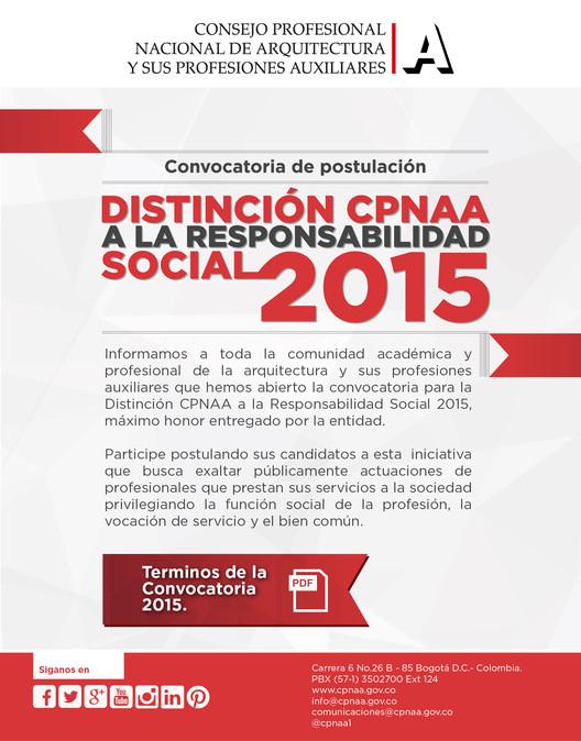 Convocatoria: Distinción CPNAA a la responsabilidad social 2015 / Colombia