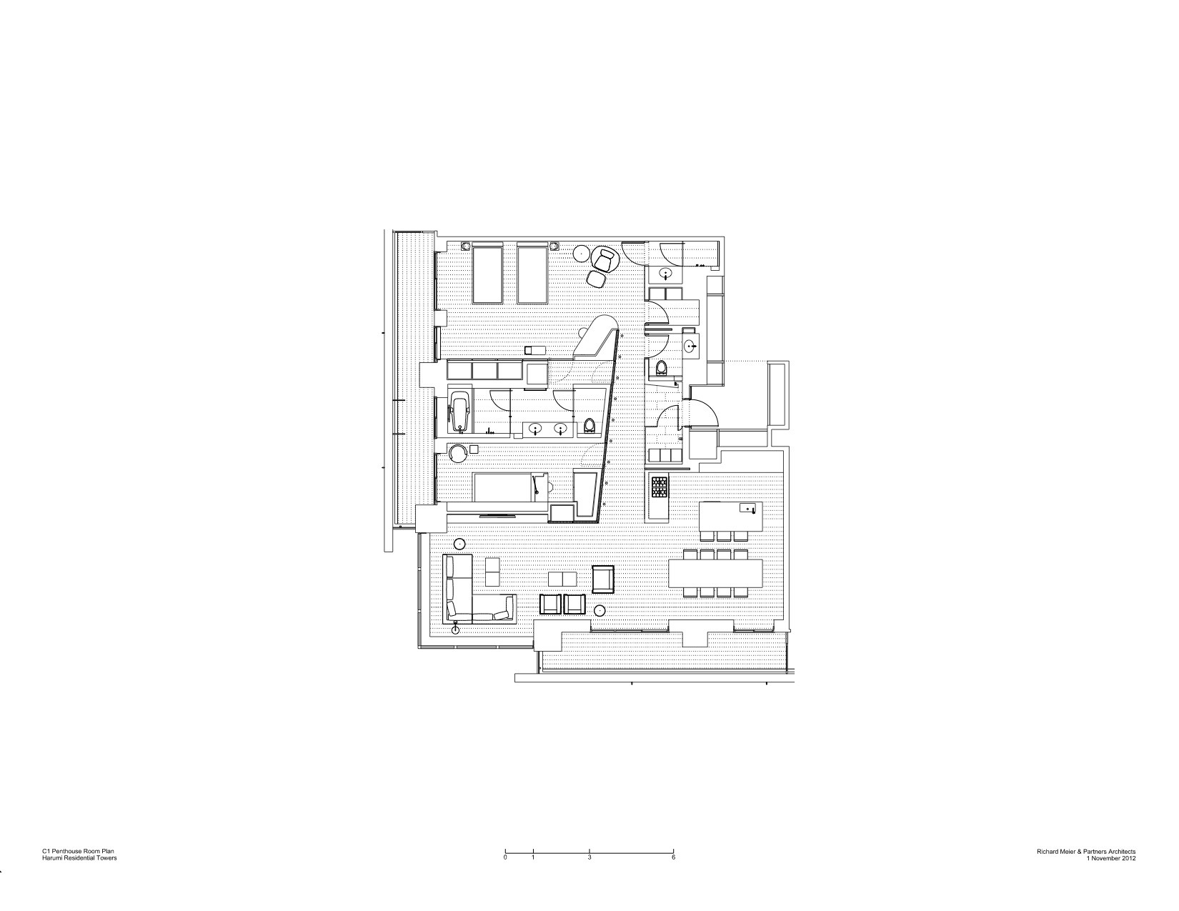 Gallery of harumi residential tower richard meier for Residential building floor plan