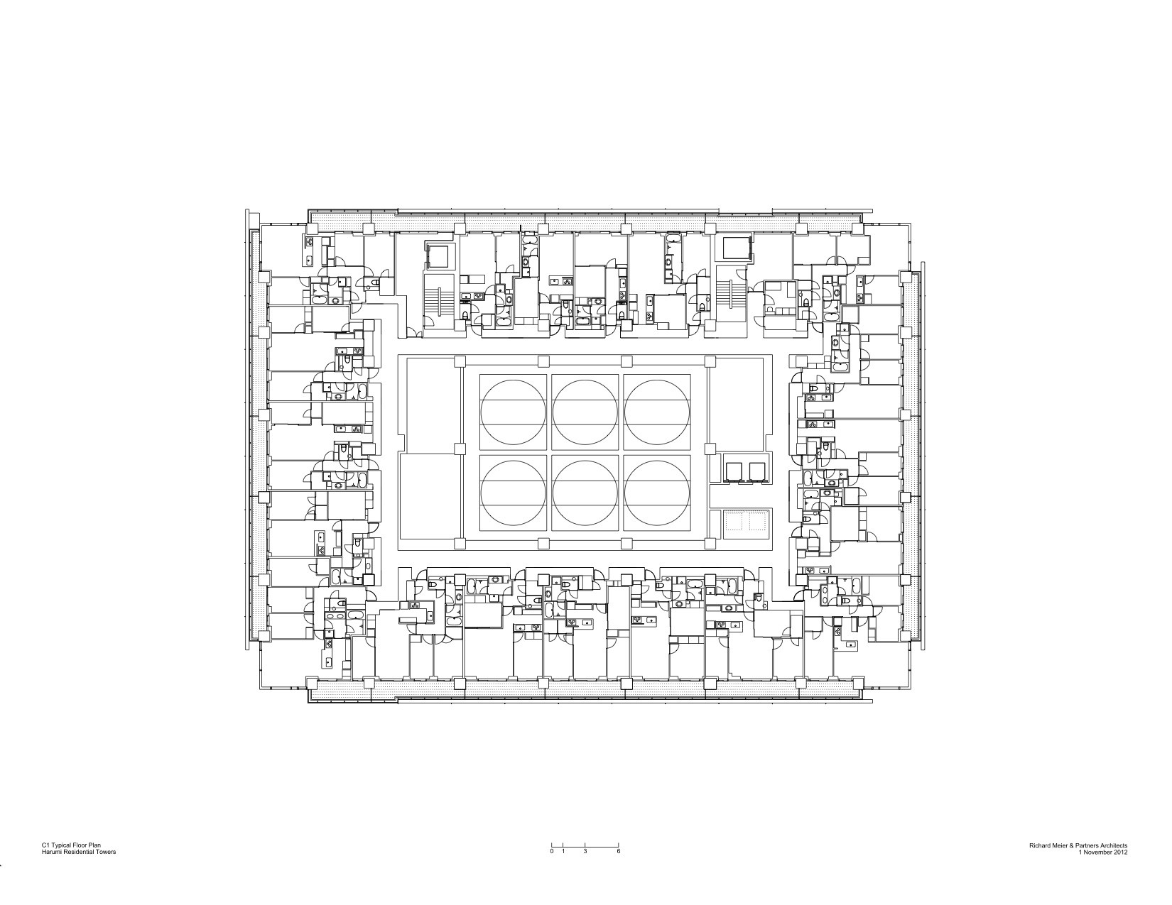 Harumi residential tower richard meier partners architects 11 16 typical floor plan