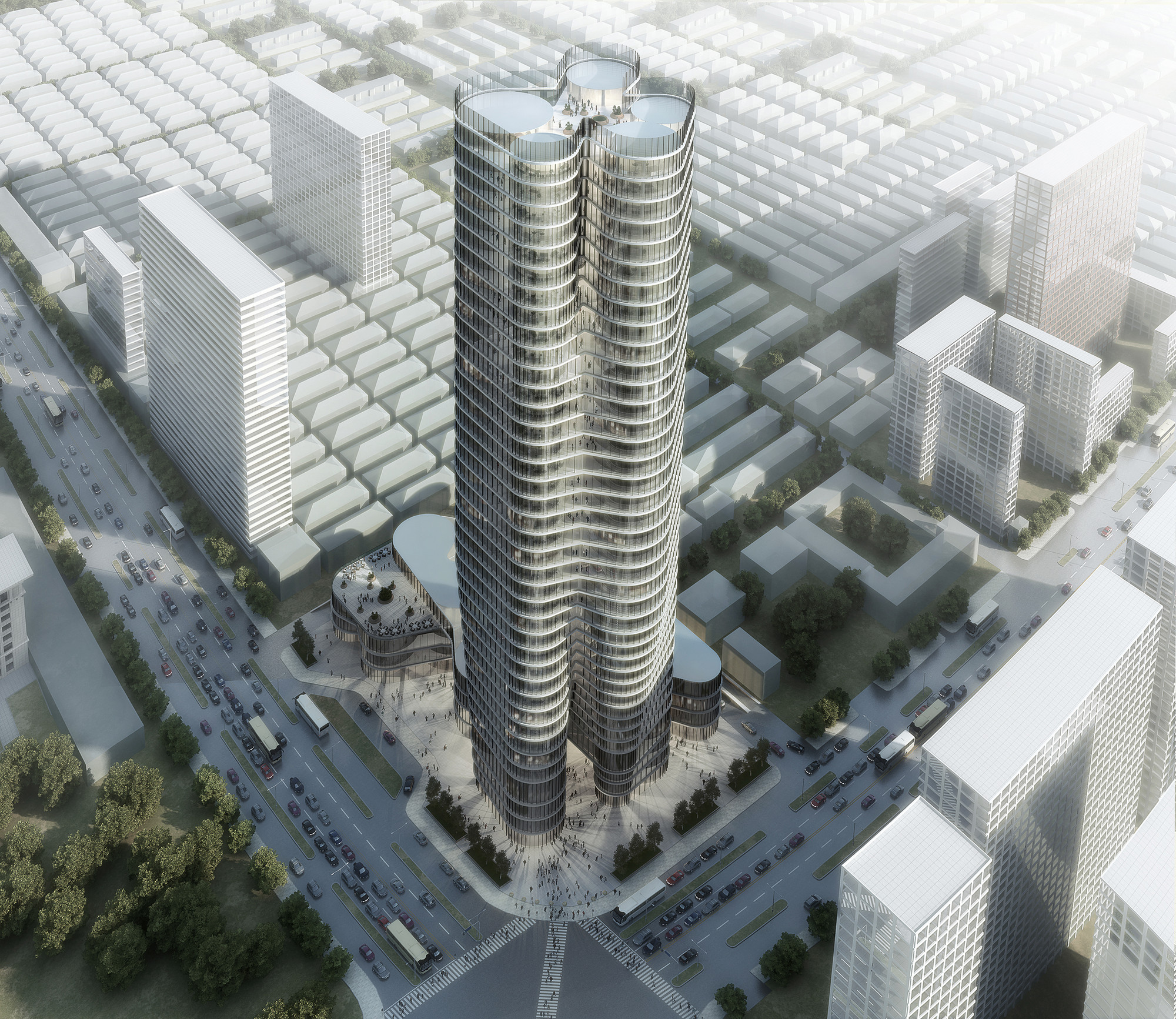 courtesy urban office. Urban Systems Office\u0027s Bundle Tower Reimagines The Bank Of China,Birdseye  View Bundle Courtesy Urban Office U