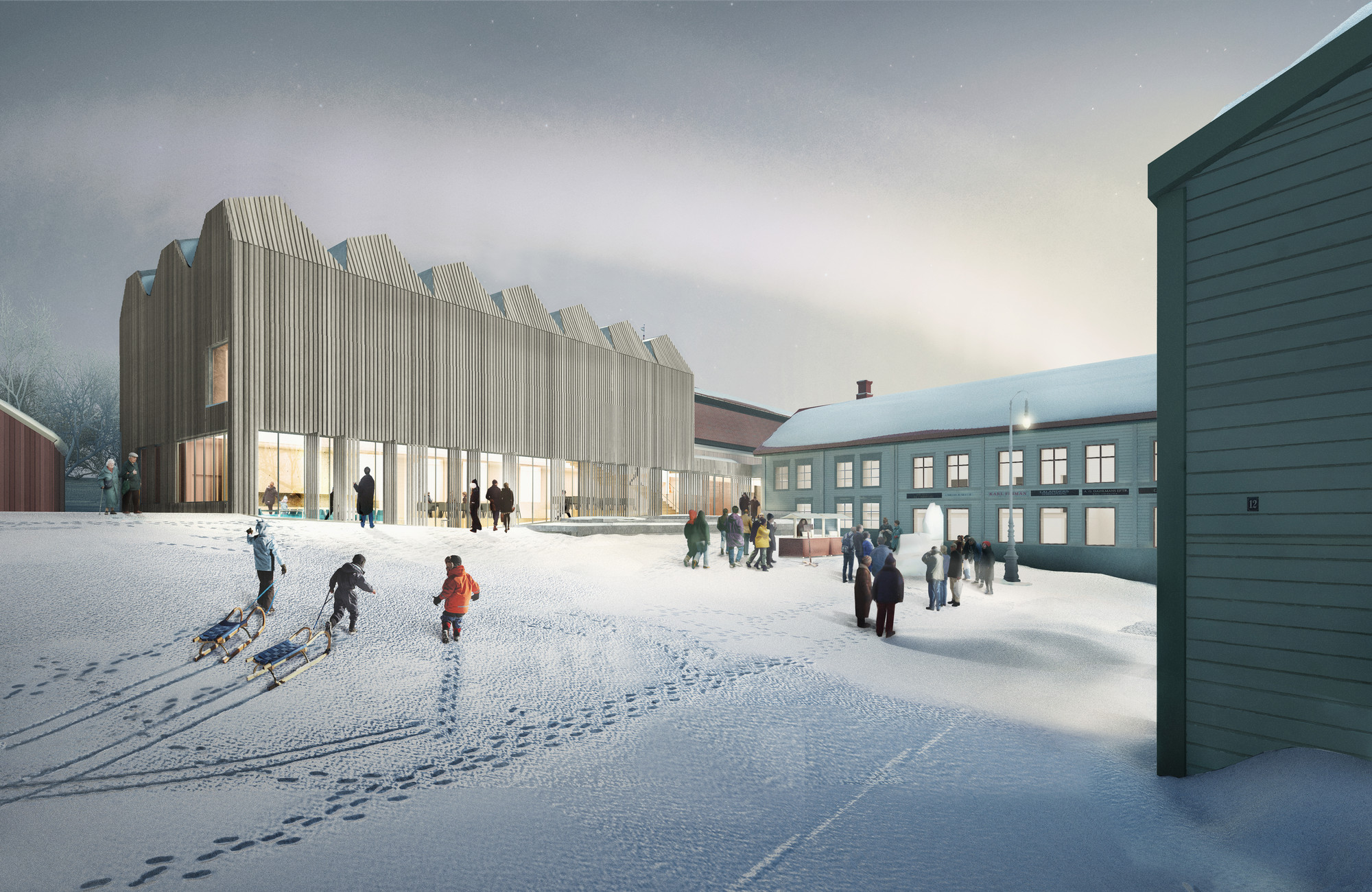 Henning Larsen Designs New Branch of Swedish National Museum, Courtyard. Image © Henning Larsen Architects