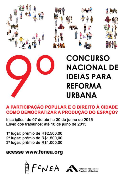 Inscrições abertas para o 9º Concurso Nacional de Ideias para Reforma Urbana, Cortesia de FeNEA