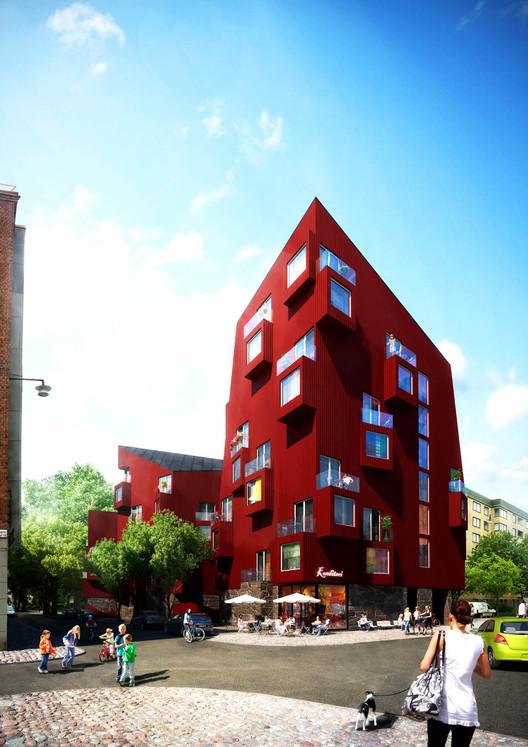 Utopia Arkitekter Reinterprets Stockholm's Vernacular Architecture, Intersection of Tengdahlsgatan and Barnängsgatan. Image Courtesy of Utopia Arkitekter