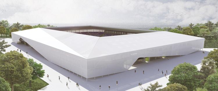 Rojas Böttner + Gajardo + Soto, primer lugar en concurso de ideas para nuevo estadio de Osorno en Chile, Vista diurna. Image Cortesía de Rojas Böttner + Gajardo + Soto