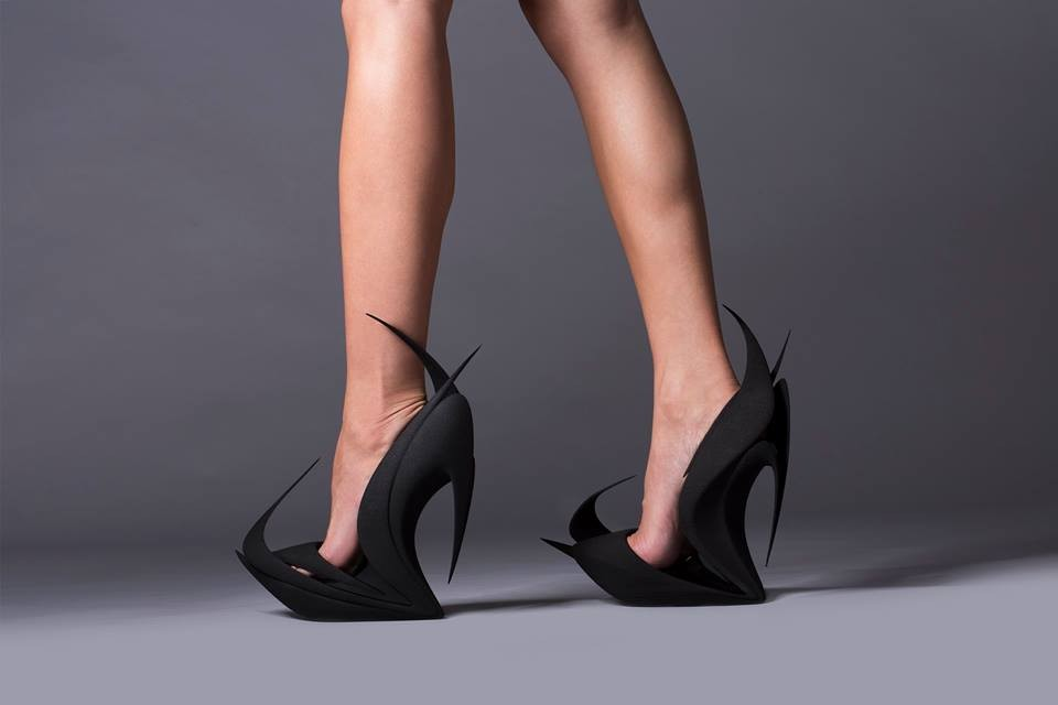 Zaha Hadid's 3D Printed Flame Heels Among 5 Designs to Re-Invent the Shoe, FLAMES / Zaha Hadid. Image © United Nude