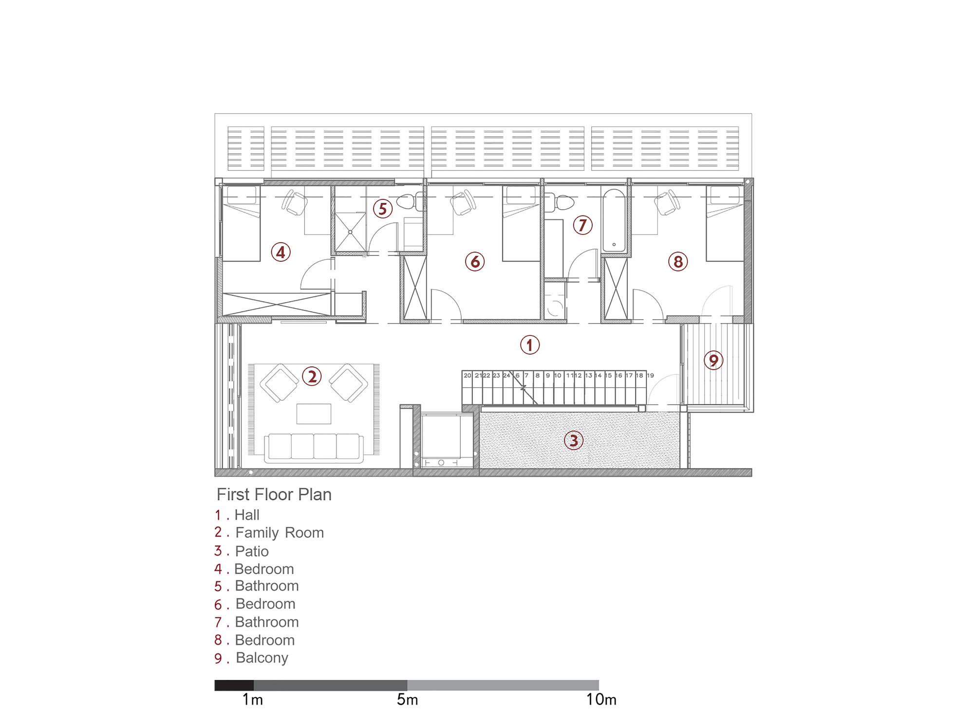 D House,First Floor Plan