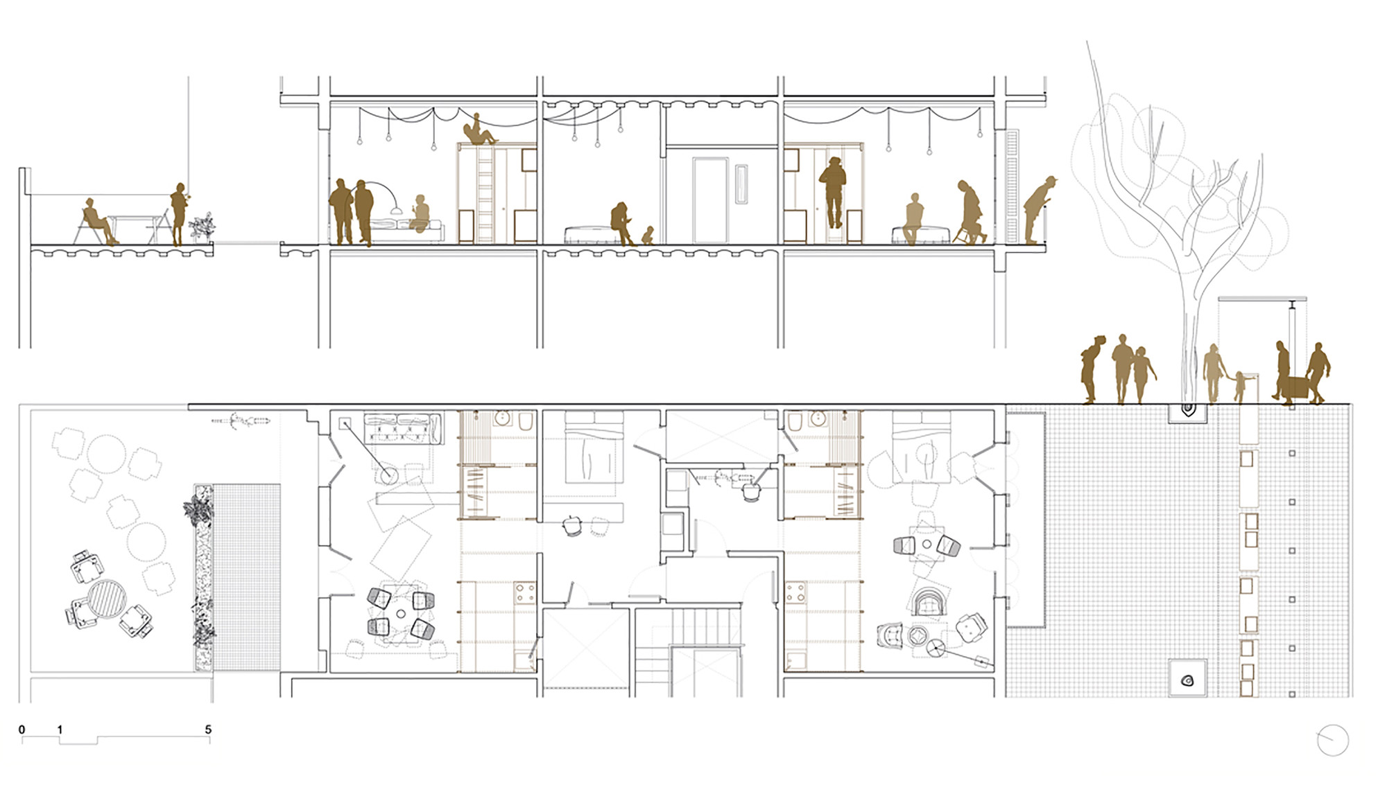 Gallery of 2 dwellings at tamarit st carles enrich 13 for Floor plans elevations and sections