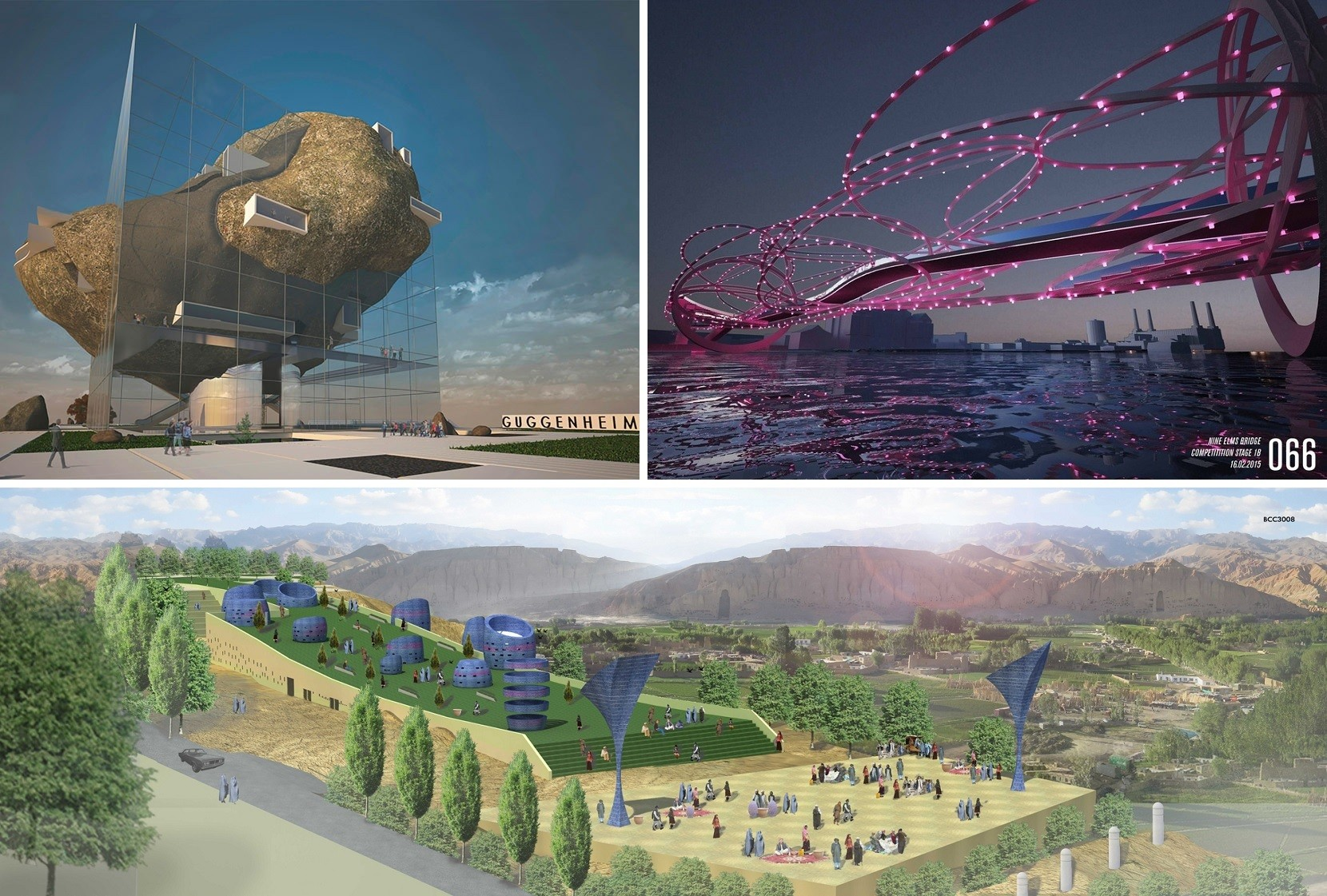 Opinion: Transparency In Architecture Competitions Is A Bad Thing, Clockwise from top left: Guggenheim Helsinki entry GH-3355371286; Nine Elms Bridge entry number 66; and Bamiyan Cultural Center entry BCC3008. Image Courtesy of Malcolm Reading Consultants, Nine Elms Vauxhall Partnership and UNESCO