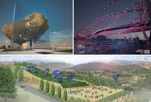 Clockwise from top left: Guggenheim Helsinki entry GH-3355371286; Nine Elms Bridge entry number 66; and Bamiyan Cultural Center entry BCC3008. Image Courtesy of Malcolm Reading Consultants, Nine Elms Vauxhall Partnership and UNESCO