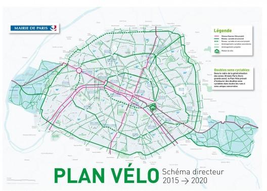 Paris pretende se tornar a nova capital mundial do ciclismo urbano, © Plano de Bicicletas 2015-2020 para Paris. Fonte: Prefeitura de Paris