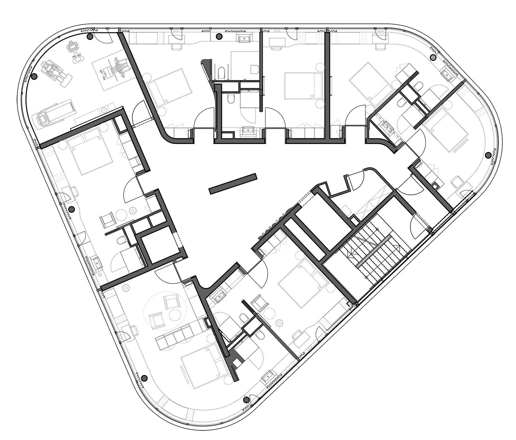 Gallery of izb residence stark architekten 26 for X2 residency floor plan