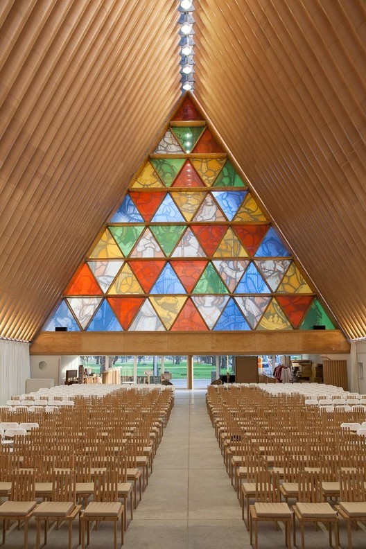Shigeru Ban's Cardboard Cathedral in New Zealand. Image © Bridgit Anderson
