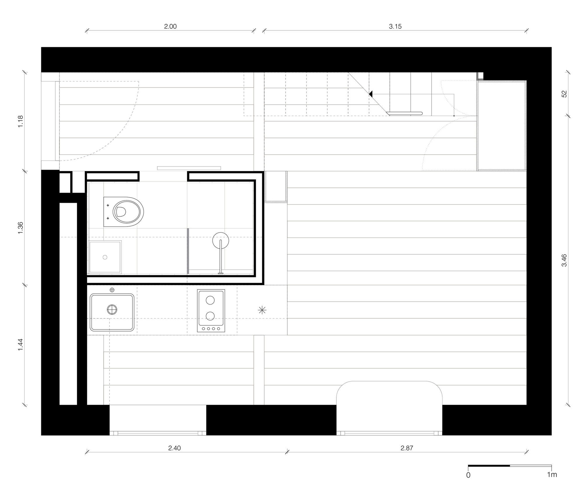 Micro Apartment In Berlin,Ground Floor Plan