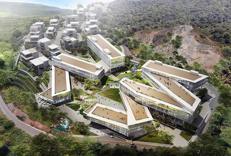 PWD inicia construção de empreendimento criativo de uso misto na China, Vista aérea do complexo. © PWD, +OUT, White Monkeys